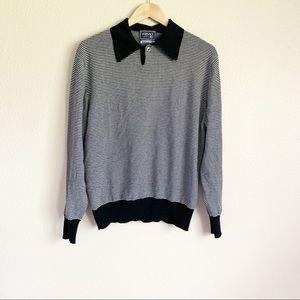 Versace Vintage Black Striped Long Sleeve Knit Top